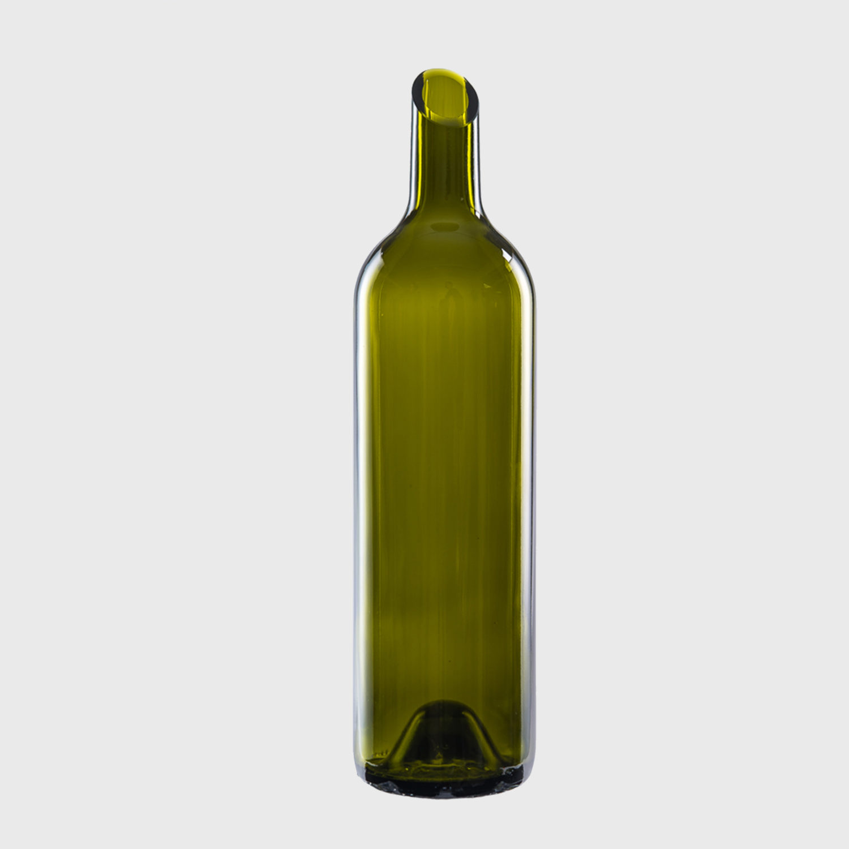vase lang olive flasche weinflasche glas handarbeit