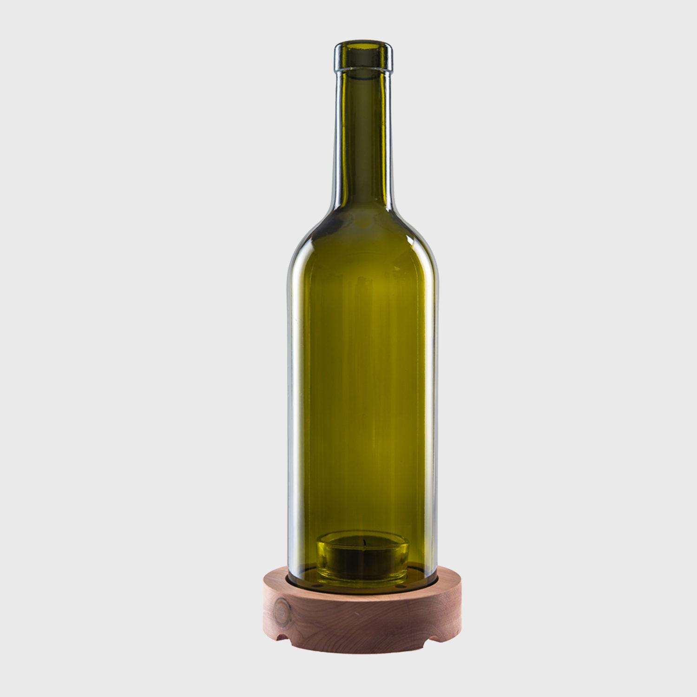 Bordeaux windlicht teelicht für draußen zedernholz upcycling recycling