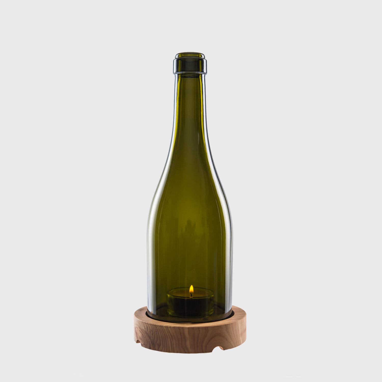 Windlicht Burgunder flasche glas upcycling